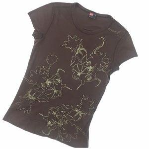 Diesel Brown Embroidered Leaf motif Tee